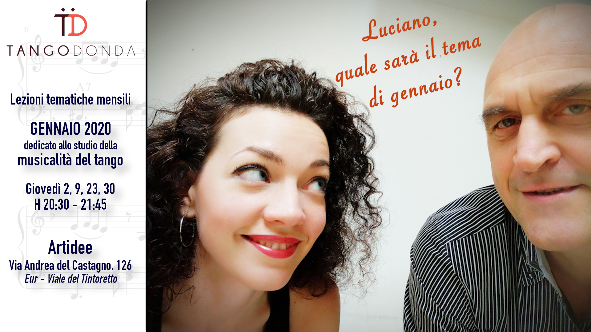 Lezioni di musicalità del tango a gennaio 2020