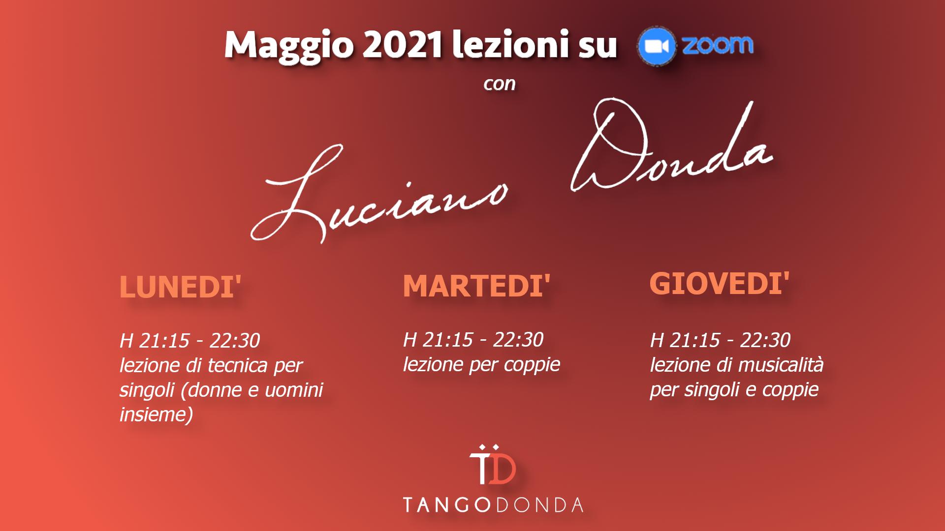 Incontri formativi online di tango argentino con Luciano Donda tutto Maggio 2021
